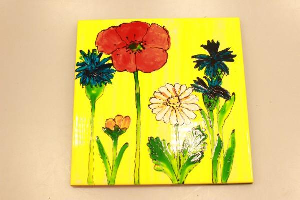 Untersetzer Keramikfliese bemalt mit Sommerblumen
