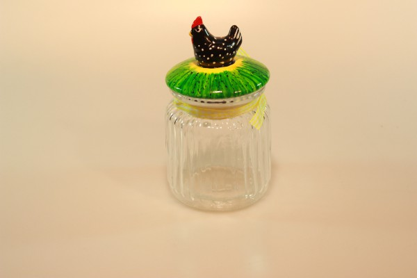 Vorratsbehälter aus Glas, schwarzes Huhn