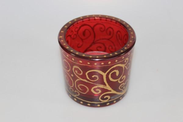 Kerzenhalter aus Glas mit Goldverzierung