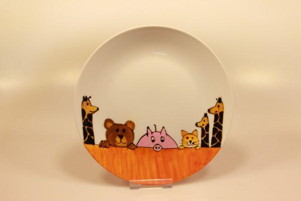 Bemalter Teller mit Tieren (ocker)
