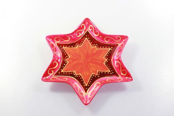 "Bemalte Schale in Sternform, Design ""rotgold"", goldener Linien"