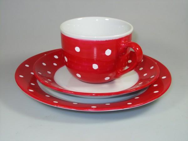Tasse-Teller rot mit weißen Punkten