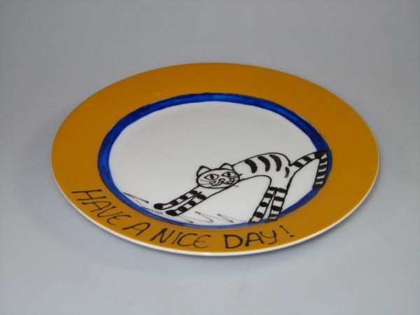 """Katze auf Teller (ocker) - Motiv """"Have a nice day"""""""