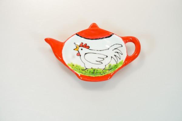Schälchen für Teebeutel oder Keks, Motiv Huhn