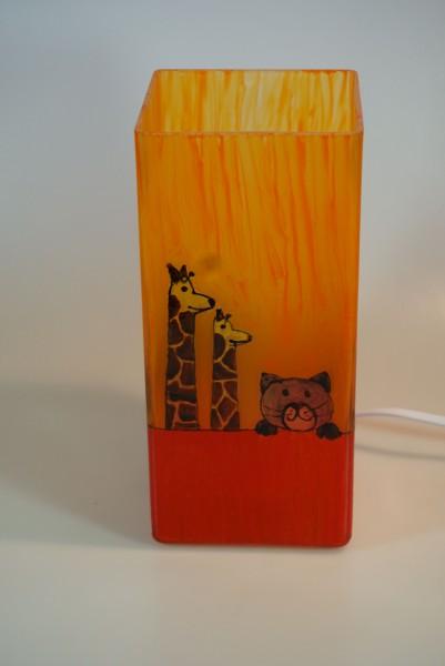Tischlampe aus bemaltem Glas mit Motive Tiere