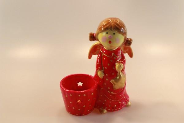 Engel mit Punkten neben Teelichthalter - rot
