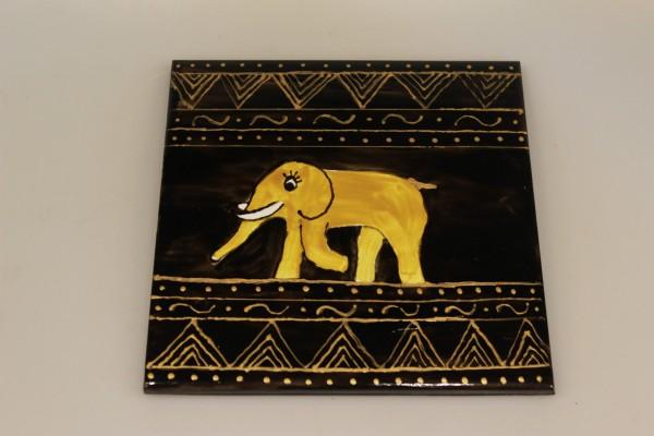 Untersetzer bemalte Keramikfliese Motiv Elefant