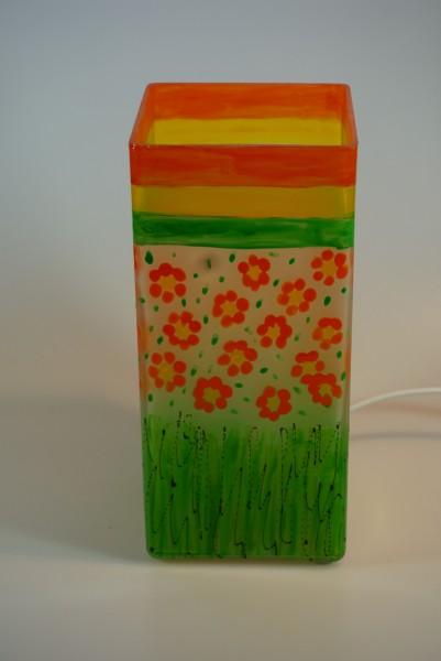 Tischlampe aus bemaltem Glas Motiv Blumen, eckig