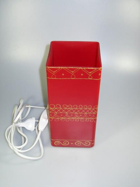 Tischlampe rot-gold, eckig (4)