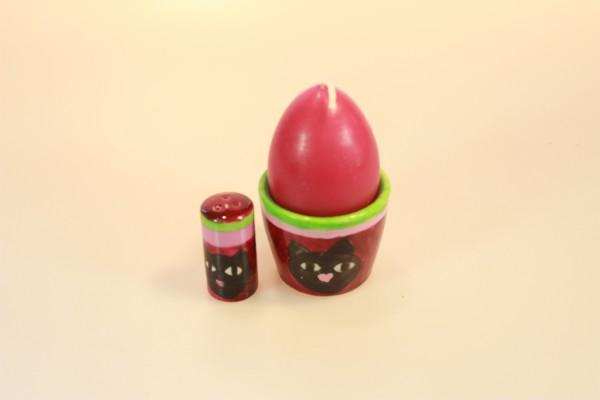 Eierbecher und Salzstreuer aus bemaltem Porzellan Motiv Katzen