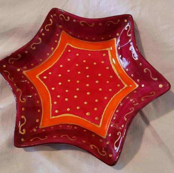 Schale in Sternform, rot-gold