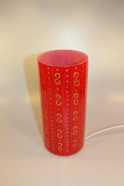 Tischlampe rund, bemalt mit Dekor rot-gold