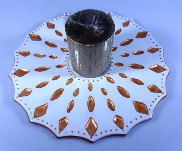 Platte für Kerze in weiß und gold