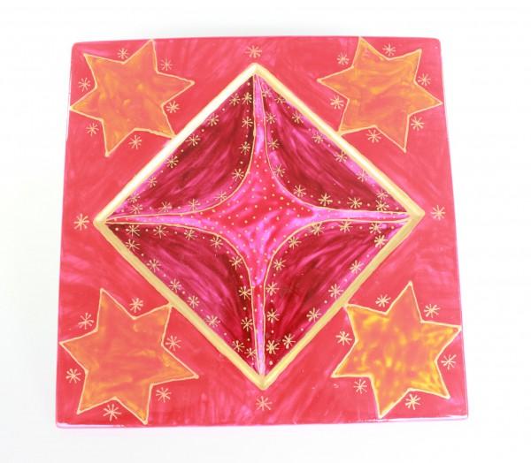 Platzteller / Unterteller bemalt,Sterne in gold