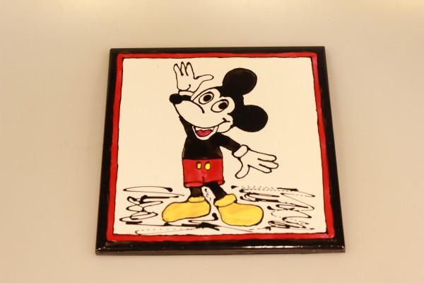 Untersetzer aus bemalter Keramik Motiv Mickeymouse