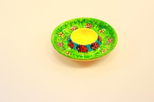 Eierbecher mit Marienkäfern bemalt, rund