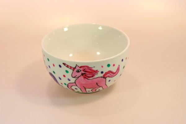 Einhorn,Müslischale, handbemaltes Porzellan