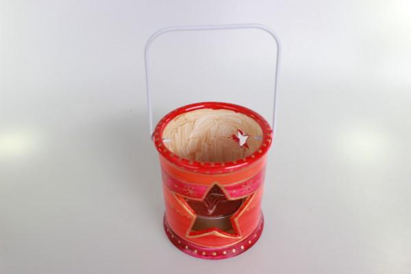 Laterne in rot-gold Dekor für großes Teelicht