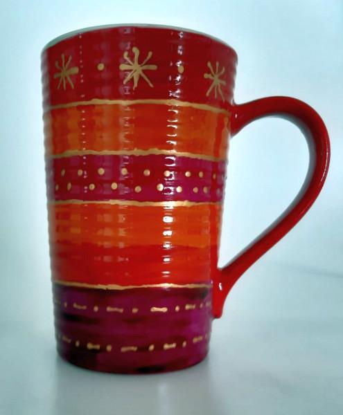 Becher in rot mit Golddekor (2)