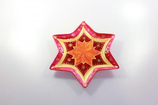"Bemalte Schale in Sternform, Design ""rotgold"", goldener Stern"
