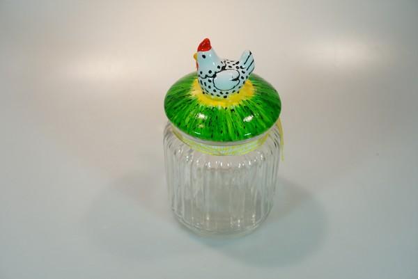 Vorratsdose aus Glas, weißes Huhn