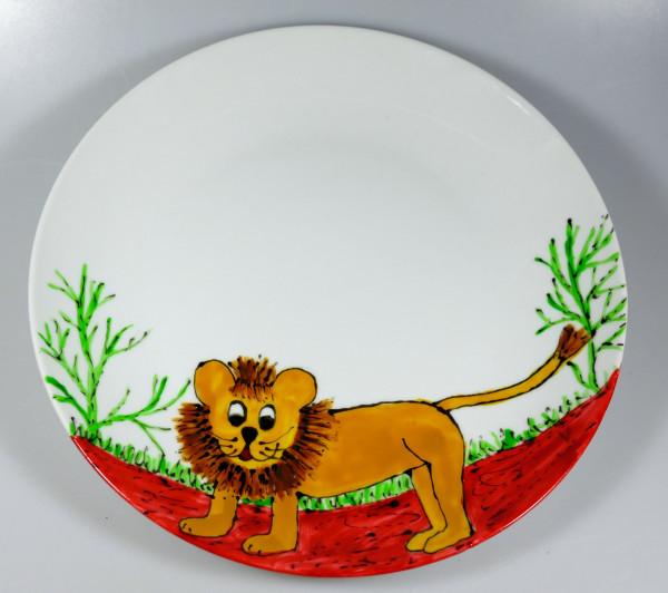Teller mit Löwe bemalt