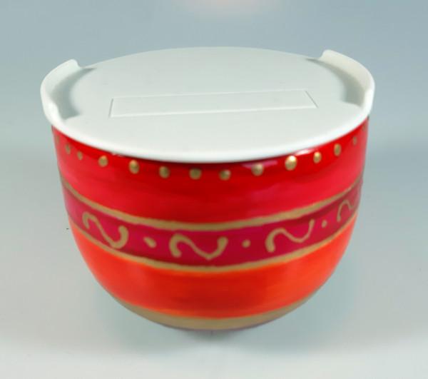 Marmeladentopf in den Farben rot und gold