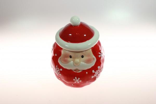 Weihnachtsmann als Vorratsbehälter, handbemaltes Porzellan