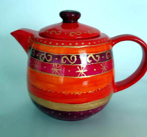 Teekanne rot-gold (3)