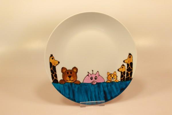 Bemalter Teller mit Tieren (blau)