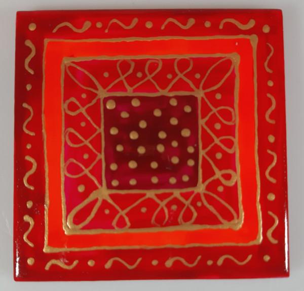 Untersetzer 10x10 rot-gold Punkte innen