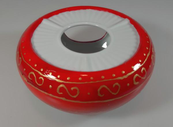 Stövchen für Teekanne rot und gold bemalt
