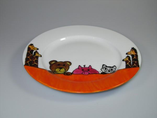 Bemalter Teller mit Tieren (orange)