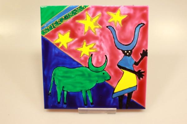 Untersetzer bemalte Keramiklfliese mit Sternzeichen Stier