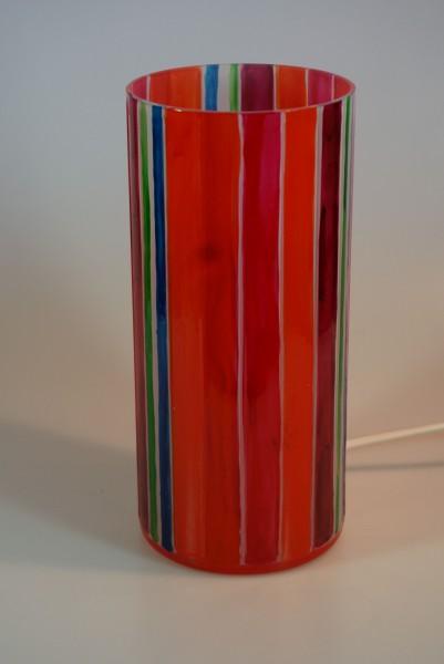 Tischlampe aus bemaltem Glas Serie Sommer, rund