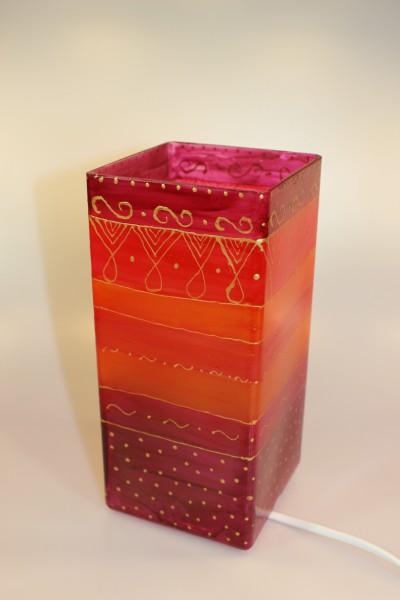 Tischlampe eckig aus Glas, bemalt in rot-gold