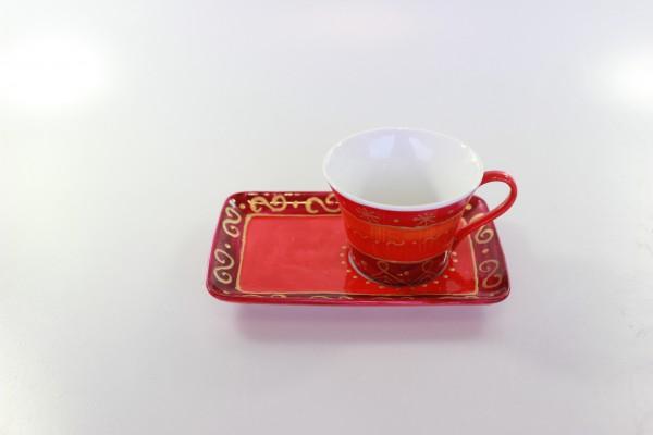 Espressotasse mit Unterteller - rot mit Golddekor