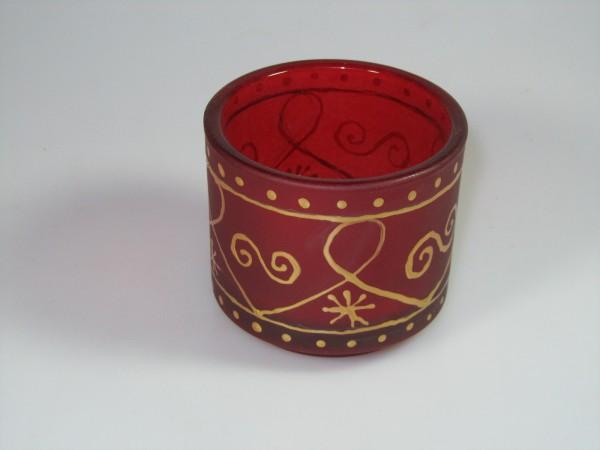 Kerzenhalter aus Glas mit Godldekor