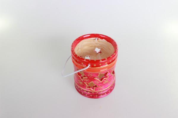 Laterne in rot-gold Dekor für kleines Teelicht
